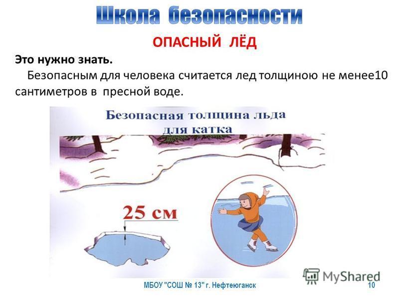 10 ОПАСНЫЙ ЛЁД Это нужно знать. Безопасным для человека считается лед толщиною не менее 10 сантиметров в пресной воде.