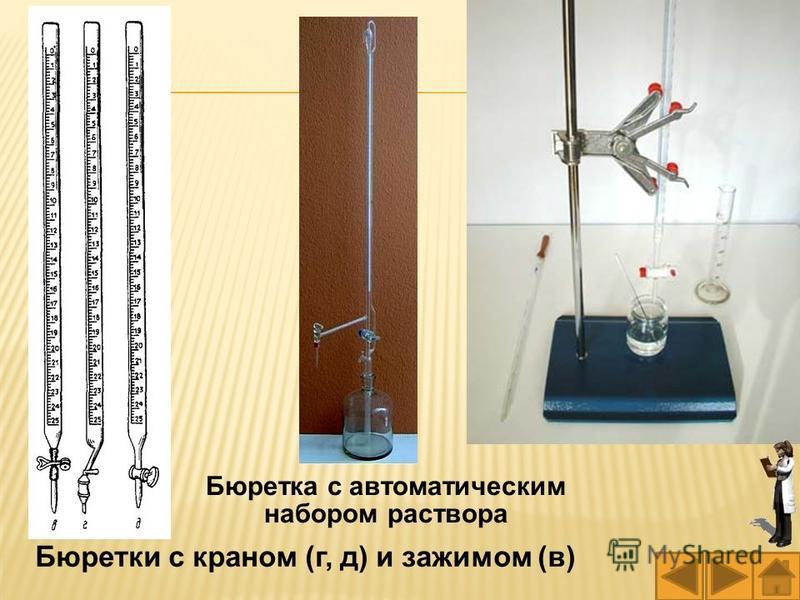 Бюретки с краном (г, д) и зажимом (в) Бюретка с автоматическим набором раствора