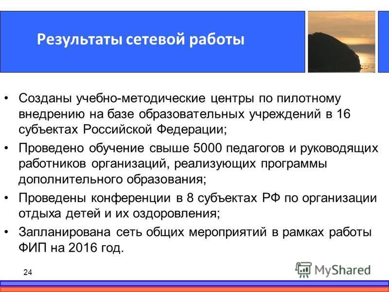 Результаты сетевой работы Созданы учебно-методические центры по пилотному внедрению на базе образовательных учреждений в 16 субъектах Российской Федерации; Проведено обучение свыше 5000 педагогов и руководящих работников организаций, реализующих прог
