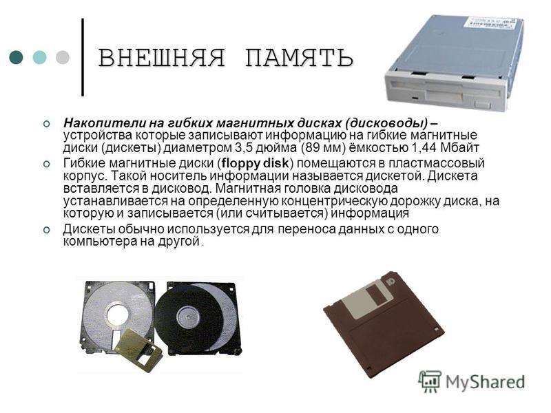 ВНЕШНЯЯ ПАМЯТЬ Накопители на гибких магнитных дисках (дисководы) – устройства которые записывают информацию на гибкие магнитные диски (дискеты) диаметром 3,5 дюйма (89 мм) ёмкостью 1,44 Мбайт Гибкие магнитные диски (floppy disk) помещаются в пластмас