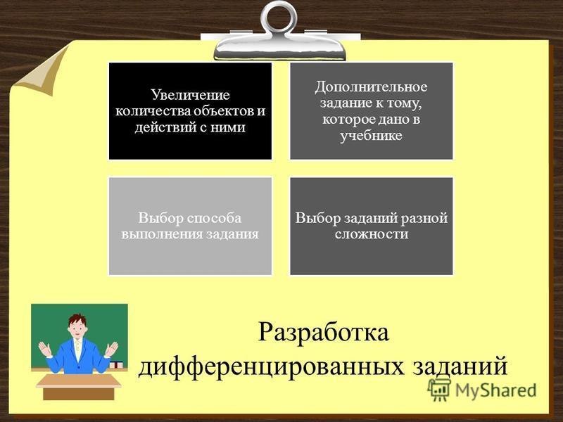 Разработка дифференцированных заданий Увеличение количества объектов и действий с ними Дополнительное задание к тому, которое дано в учебнике Выбор способа выполнения задания Выбор заданий разной сложности