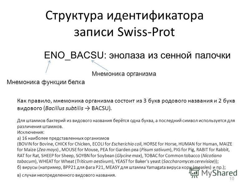 Структура идентификатора записи Swiss-Prot ENO_BACSU: энолаза из сенной палочки Мнемоника функции белка Мнемоника организма Как правило, мнемоника организма состоит из 3 букв родового названия и 2 букв видового (Bacillus subtilis BACSU). Для штаммов