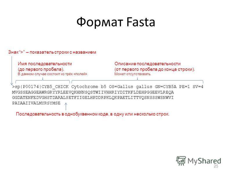 Формат Fasta 25 >sp|P00174|CYB5_CHICK Cytochrome b5 OS=Gallus gallus GN=CYB5A PE=1 SV=4 MVGSSEAGGEAWRGRYYRLEEVQKHNNSQSTWIIVHHRIYDITKFLDEHPGGEEVLREQA GGDATENFEDVGHSTDARALSETFIIGELHPDDRPKLQKPAETLITTVQSNSSSWSNWVI PAIAAIIVALMYRSYMSE Знак > – показатель с