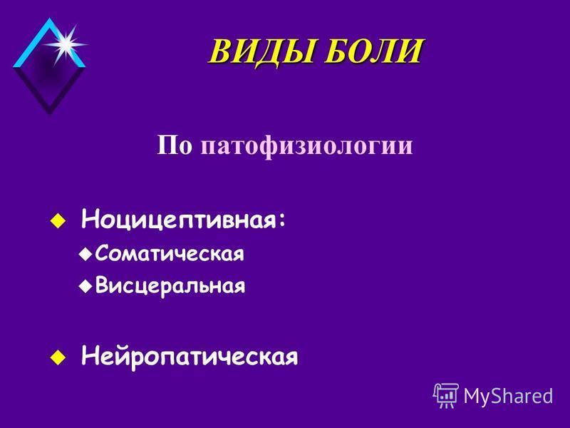ВИДЫ БОЛИ По патофизиологии u Ноцицептивная: u Соматическая u Висцеральная u Нейропатическая