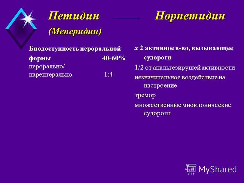 Петидин Норпетидин (Меперидин) Петидин Норпетидин (Меперидин) Биодоступность пероральной формы 40-60% перорально/ парентерально 1:4 x 2 активное в-во, вызывающее судороги 1/2 от анальгезирущей активности незначительное воздействие на настроение тремо
