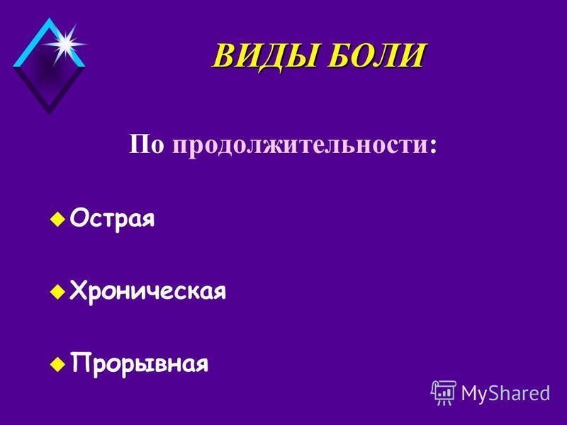 ВИДЫ БОЛИ По продолжительности: u Острая u Хроническая Прорывная