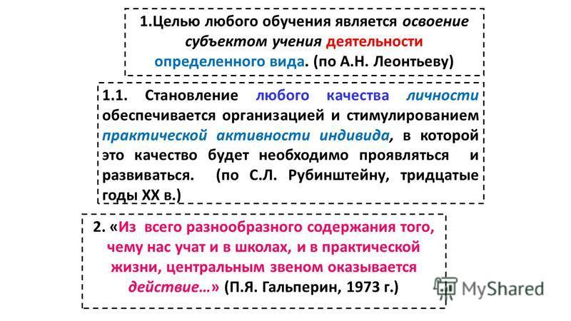 1. Целью любого обучения является освоение субъектом учения деятельности определенного вида. (по А.Н. Леонтьеву) 1.1. Становление любого качества личности обеспечивается организацией и стимулированием практической активности индивида, в которой это к