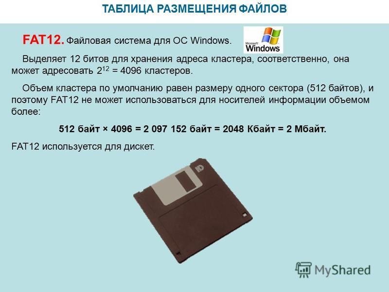 ТАБЛИЦА РАЗМЕЩЕНИЯ ФАЙЛОВ FAT12. Файловая система для ОС Windows. Выделяет 12 битов для хранения адреса кластера, соответственно, она может адресовать 2 12 = 4096 кластеров. Объем кластера по умолчанию равен размеру одного сектора (512 байтов), и поэ