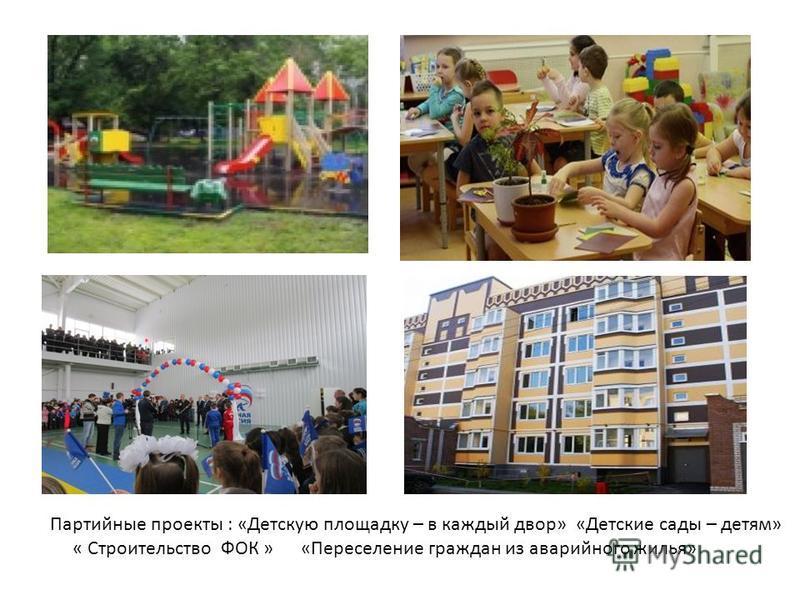 Партийные проекты : «Детскую площадку – в каждый двор» «Детские сады – детям» « Строительство ФОК » «Переселение граждан из аварийного жилья»