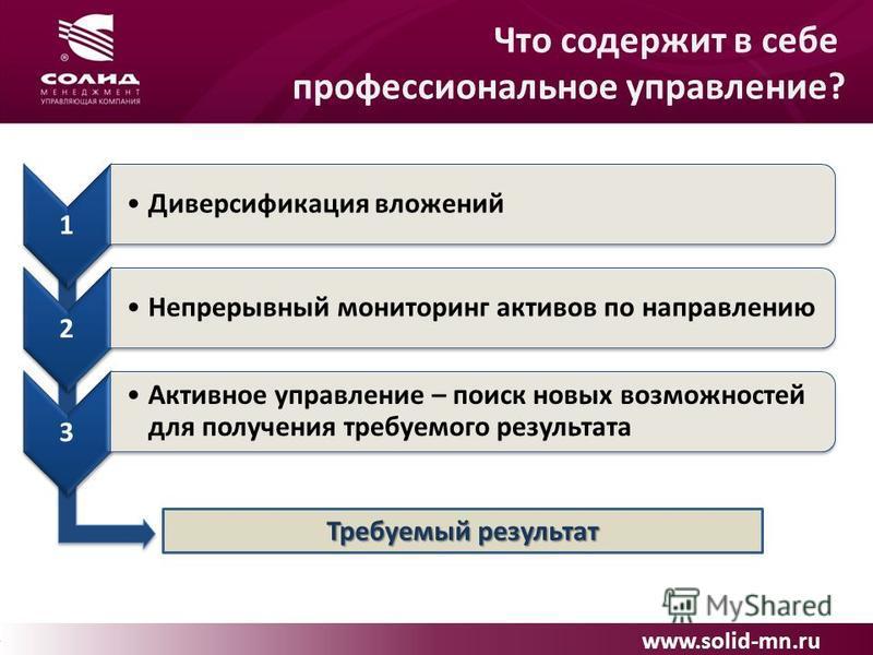 www.solid-mn.ru Что содержит в себе профессиональное управление? 1 Диверсификация вложений 2 Непрерывный мониторинг активов по направлению 3 Активное управление – поиск новых возможностей для получения требуемого результата Требуемый результат