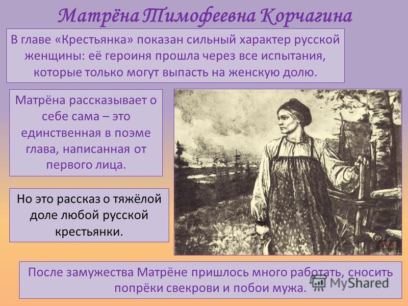 Матрёна Тимофеевна Корчагина В главе «Крестьянка» показан сильный характер русской женщины: её героиня прошла через все испытания, которые только могут выпасть на женскую долю. Матрёна рассказывает о себе сама – это единственная в поэме глава, написа