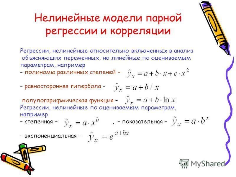 Нелинейные модели парной регрессии и корреляции Регрессии, нелинейные относительно включенных в анализ объясняющих переменных, но линейные по оцениваемым параметрам, например – полиномы различных степеней – – равносторонняя гипербола – полулогарифмич