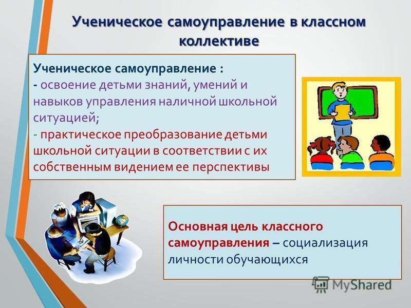 Ученическое самоуправление в классном коллективе Ученическое самоуправление : - освоение детьми знаний, умений и навыков управления наличной школьной ситуацией; - практическое преобразование детьми школьной ситуации в соответствии с их собственным ви