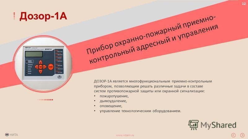 НИТА www.nitann.ru 12 Дозор-1А Прибор охранно-пожарный приемно- контрольный адресный и управления ДОЗОР-1А является многофункциональным приемно-контрольным прибором, позволяющим решать различные задачи в составе систем противопожарной защиты или охра