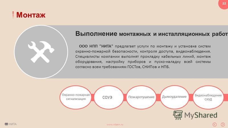 НИТА www.nitann.ru 22 Монтаж Выполнение монтажных и инсталляционных работ ООО НПП