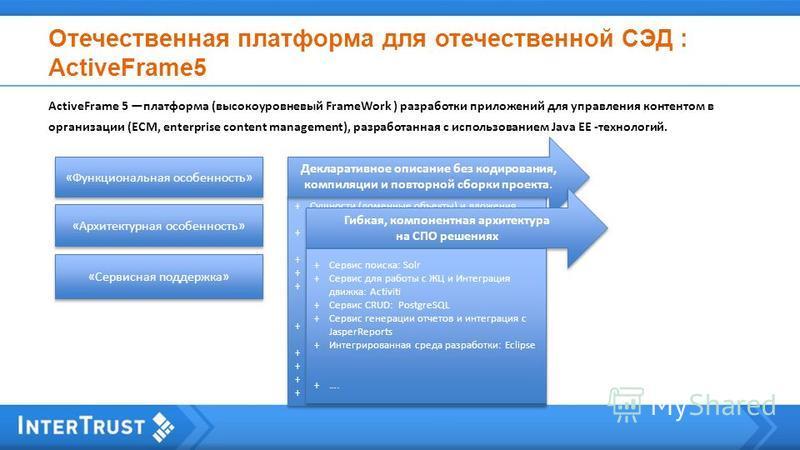 Отечественная платформа для отечественной СЭД : ActiveFrame5 ActiveFrame 5 платформа (высокоуровневый FrameWork ) разработки приложений для управления контентом в организации (ECM, enterprise content management), разработанная с использованием Java E
