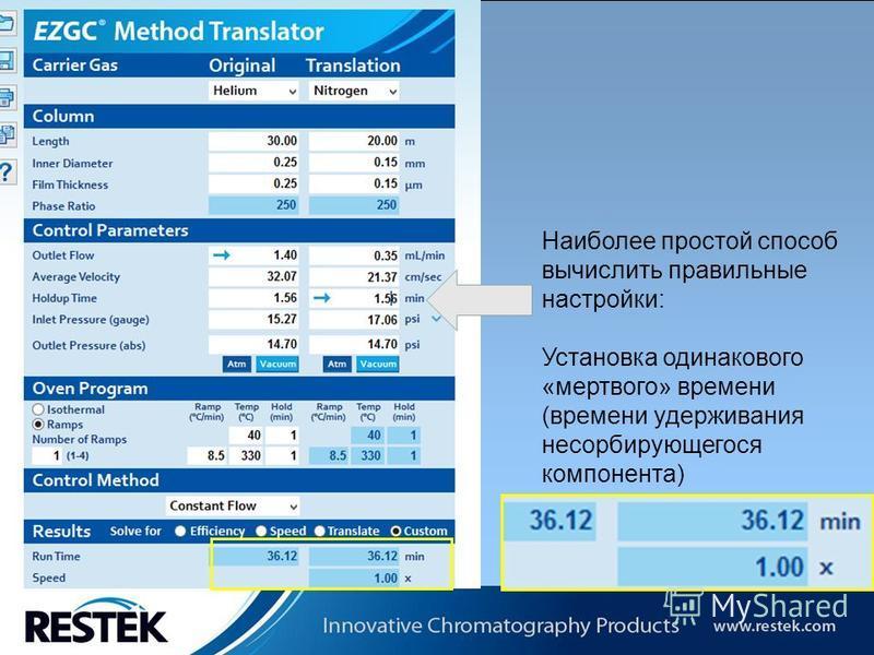 Copyrights: Restek Corporation Наиболее простой способ вычислить правильные настройки: Установка одинакового «мертвого» времени (времени удерживания несорбирующегося компонента)