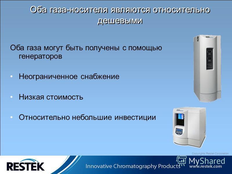 Copyrights: Restek Corporation Оба газа могут быть получены с помощью генераторов Неограниченное снабжение Низкая стоимость Относительно небольшие инвестиции Оба газа-носителя являются относительно дешевыми