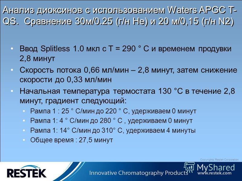 Copyrights: Restek Corporation Анализ диоксинов с использованием Waters APGC T- QS. Сравнение 30 м/0.25 (г/н He) и 20 м/0,15 (г/н N2) Ввод Splitless 1.0 мкл с T = 290 ° C и временем продувки 2,8 минут Скорость потока 0,66 мл/мин – 2,8 минут, затем сн