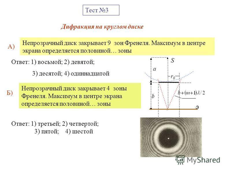 Тест 3 Непрозрачный диск закрывает 9 зон Френеля. Максимум в центре экрана определяется половиной… зоны Ответ: 1) восьмой; 2) девятой; 3) десятой; 4) одиннадцатой Дифракция на круглом диске a b S Э r0r0 А) Непрозрачный диск закрывает 4 зоны Френеля.