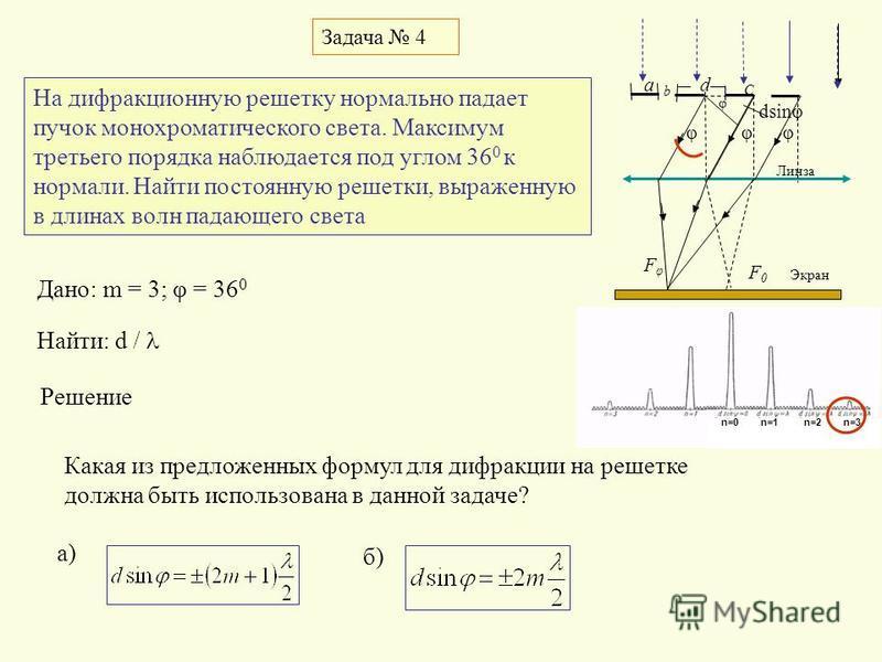 Задача 4 φ C φ FφFφ F0F0 dsinφ d Экран Линза φφ b a n=0n=1 n=2 n=3n=0n=1 n=2 n=3 На дифракционную решетку нормально падает пучок монохроматического света. Максимум третьего порядка наблюдается под углом 36 0 к нормали. Найти постоянную решетки, выраж