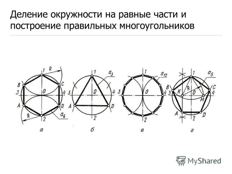 Деление окружности на равные части и построение правильных многоугольников