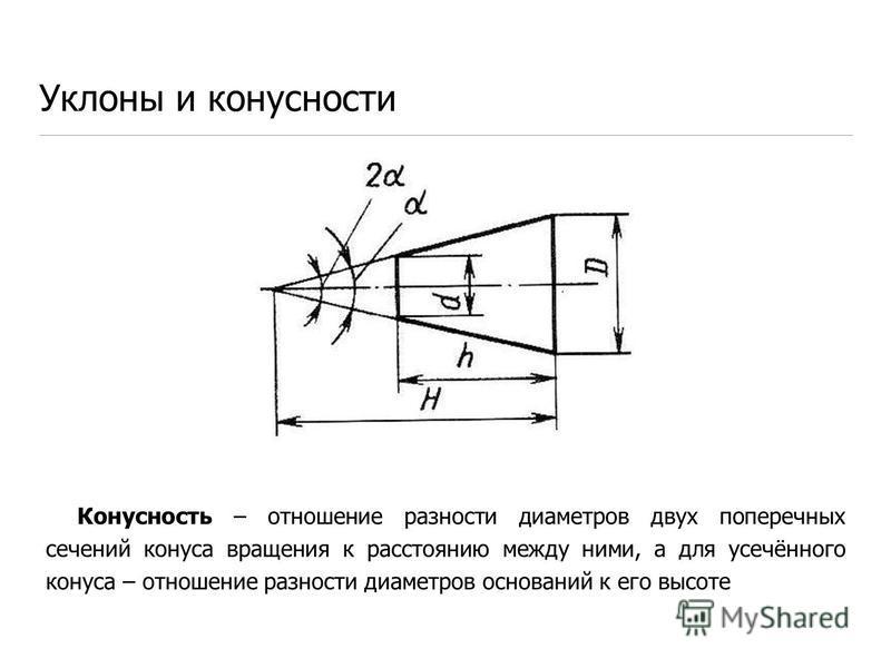 Конусность – отношение разности диаметров двух поперечных сечений конуса вращения к расстоянию между ними, а для усечённого конуса – отношение разности диаметров оснований к его высоте