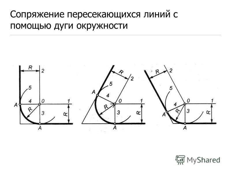 Сопряжение пересекающихся линий с помощью дуги окружности