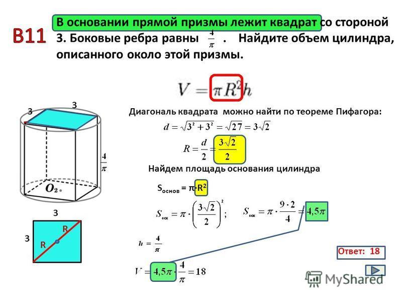 Ответ: 18 В основании прямой призмы лежит квадрат со стороной 3. Боковые ребра равны. Найдите объем цилиндра, описанного около этой призмы. 3 S основ = π·R 2 3 R R R 3 3 Диагональ квадрата можно найти по теореме Пифагора: Найдем площадь основания цил