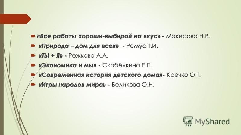 «Все работы хороши-выбирай на вкус » - Макерова Н.В. «Все работы хороши-выбирай на вкус » - Макерова Н.В. «Природа – дом для всех» - Ремус Т.И. «Природа – дом для всех» - Ремус Т.И. «ТЫ + Я» - Рожкова А.А. «ТЫ + Я» - Рожкова А.А. «Экономика и мы» - С