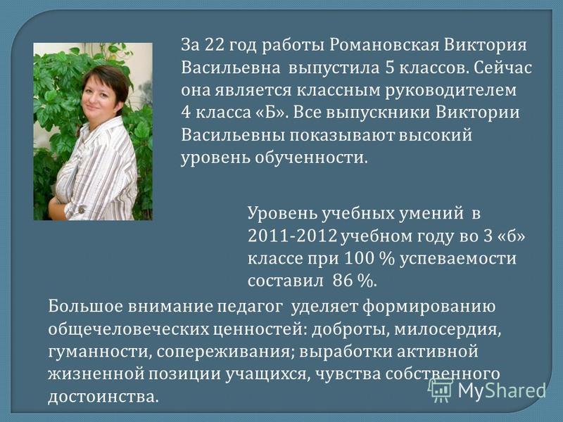За 22 год работы Романовская Виктория Васильевна выпустила 5 классов. Сейчас она является классным руководителем 4 класса «Б». Все выпускники Виктории Васильевны показывают высокий уровень обученности. Уровень учебных умений в 2011-2012 учебном году