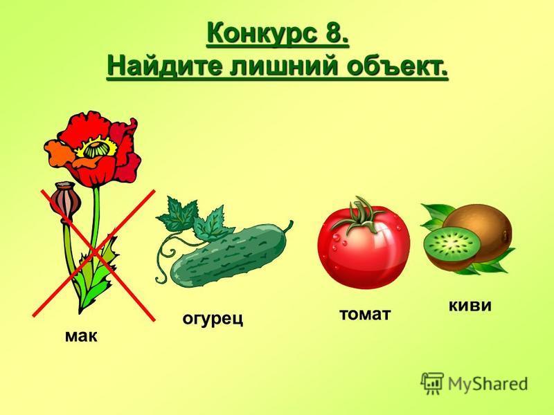 Конкурс 8. Найдите лишний объект. огурец мак томат киви