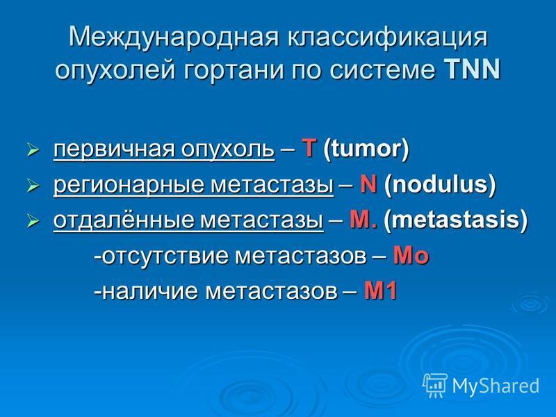 Международная классификация опухолей гортани по системе TNN первичная опухоль – Т (tumor) первичная опухоль – Т (tumor) регионарные метастазы – N (nodulus) регионарные метастазы – N (nodulus) отдалённые метастазы – M. (metastasis) отдалённые метастаз