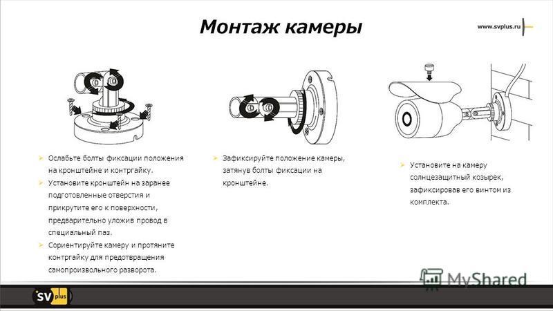 Монтаж камеры Ослабьте болты фиксации положения на кронштейне и контргайку. Установите кронштейн на заранее подготовленные отверстия и прикрутите его к поверхности, предварительно уложив провод в специальный паз. Сориентируйте камеру и протяните конт