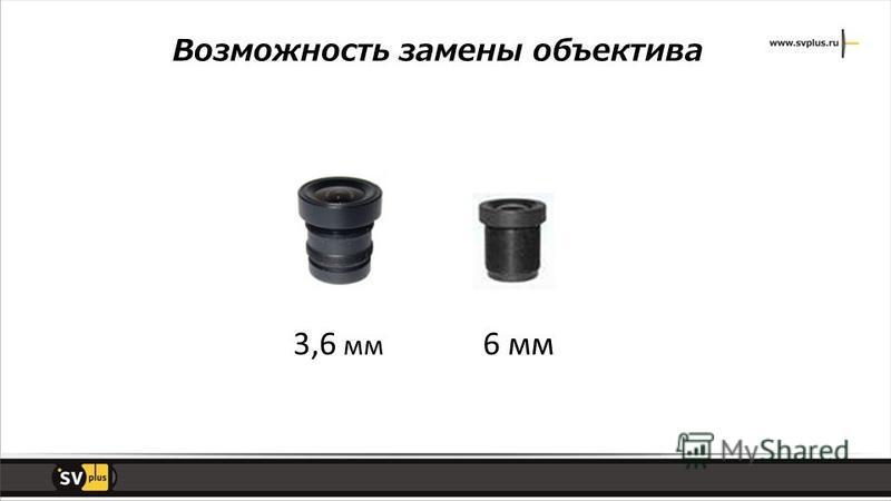 3,6 мм 6 мм Возможность замены объектива
