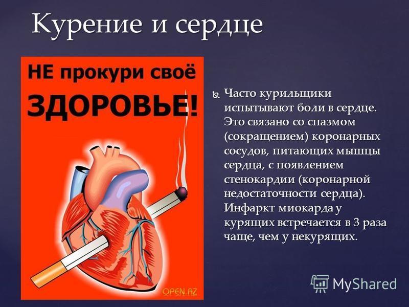 Часто курильщики испытывают боли в сердце. Это связано со спазмом (сокращением) коронарных сосудов, питающих мышцы сердца, с появлением стенокардии (коронарной недостаточности сердца). Инфаркт миокарда у курящих встречается в 3 раза чаще, чем у некур