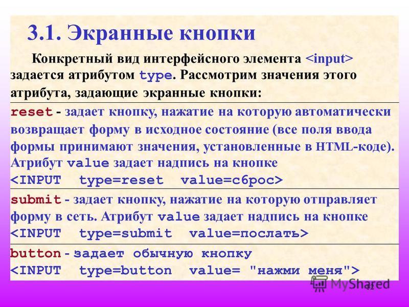 12 3.1. Экранные кнопки Конкретный вид интерфейсного элемента задается атрибутом type. Рассмотрим значения этого атрибута, задающие экранные кнопки: reset - задает кнопку, нажатие на которую автоматически возвращает форму в исходное состояние (все по