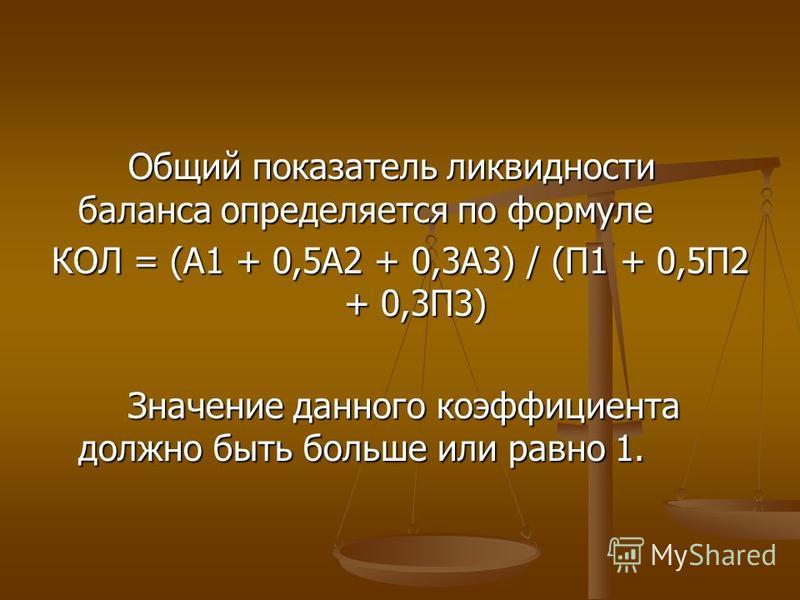 Общий показатель ликвидности баланса определяется по формуле КОЛ = (А1 + 0,5А2 + 0,3А3) / (П1 + 0,5П2 + 0,3П3) Значение данного коэффициента должно быть больше или равно 1.