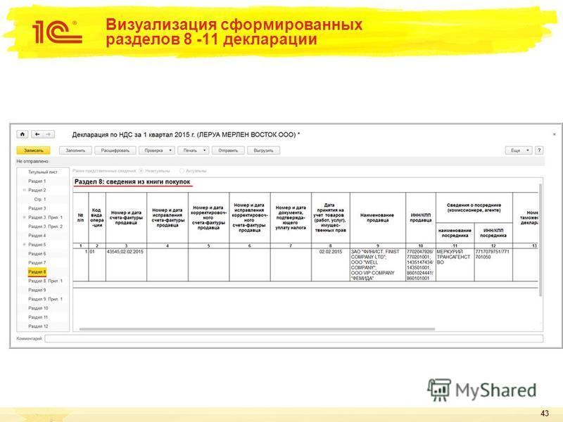 43 Визуализация сформированных разделов 8 -11 декларации