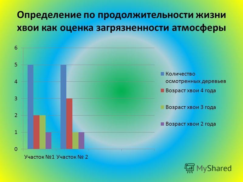 Определение по продолжительности жизни хвои как оценка загрязненности атмосферы