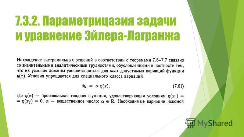 7.3.2. Параметрицазия задачи и уравнение Эйлера-Лагранжа