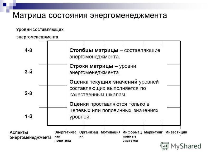 Матрица состояния энергоменеджмента Столбцы матрицы – составляющие энергоменеджмента. Строки матрицы – уровни энергоменеджмента. Оценка текущих значений уровней составляющих выполняется по качественным шкалам. Оценки проставляются только в целевых ил