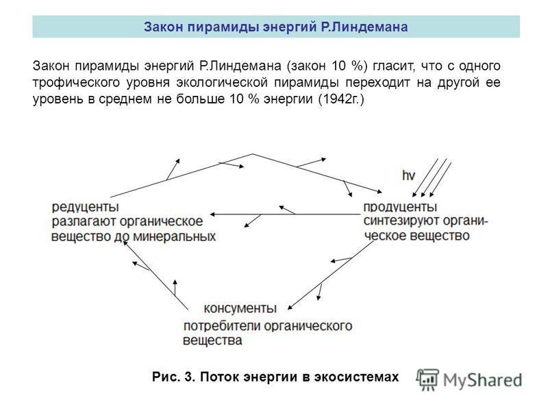 Закон пирамиды энергий Р.Линдемана Закон пирамиды энергий Р.Линдемана (закон 10 %) гласит, что с одного трофического уровня экологической пирамиды переходит на другой ее уровень в среднем не больше 10 % энергии (1942 г.) Рис. 3. Поток энергии в экоси