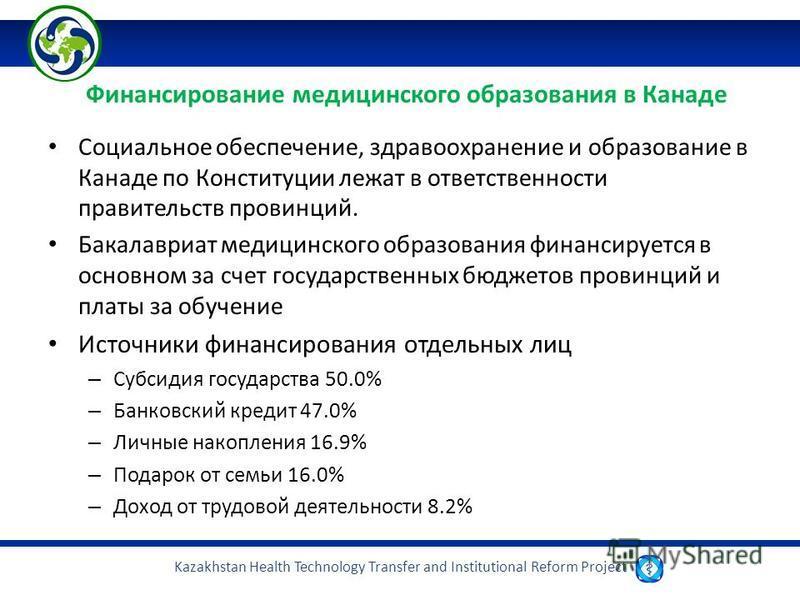 Kazakhstan Health Technology Transfer and Institutional Reform Project Финансирование медицинского образования в Канаде Социальное обеспечение, здравоохранение и образование в Канаде по Конституции лежат в ответственности правительств провинций. Бака