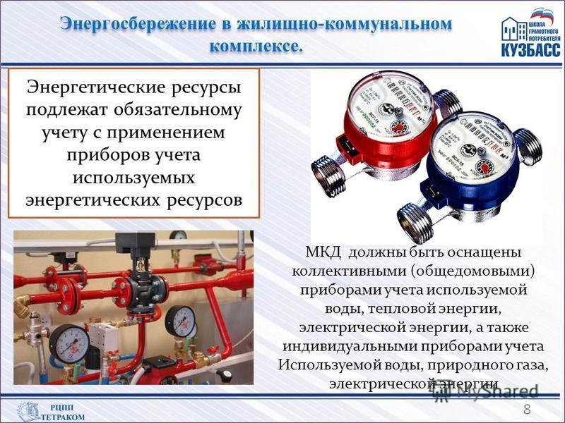 Энергетические ресурсы подлежат обязательному учету с применением приборов учета используемых энергетических ресурсов МКД должны быть оснащены коллективными (общедомовыми) приборами учета используемой воды, тепловой энергии, электрической энергии, а