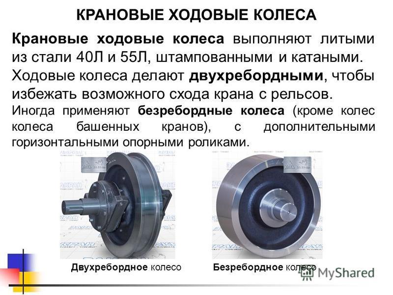 КРАНОВЫЕ ХОДОВЫЕ КОЛЕСА Крановые ходовые колеса выполняют литыми из стали 40Л и 55Л, штампованными и катаными. Ходовые колеса делают двухребордными, чтобы избежать возможного схода крана с рельсов. Иногда применяют безребордные колеса (кроме колес ко