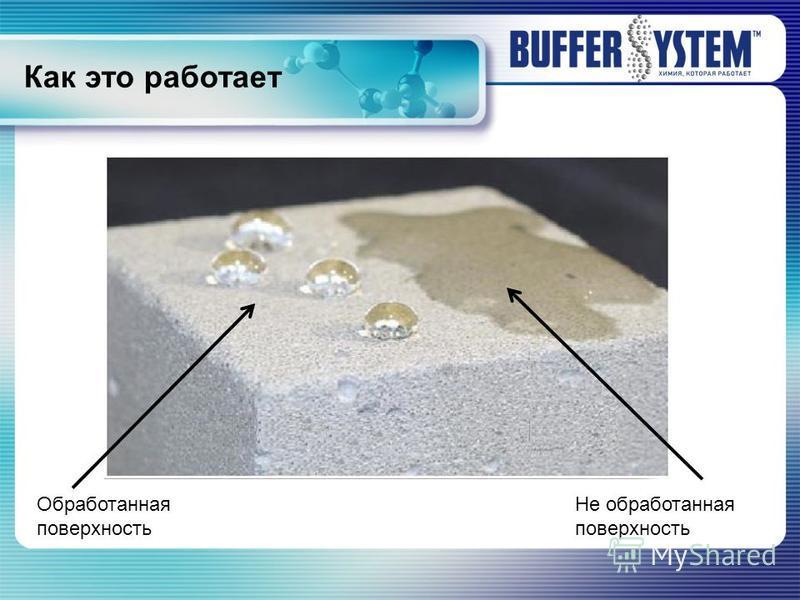 Как это работает Обработанная поверхность Не обработанная поверхность
