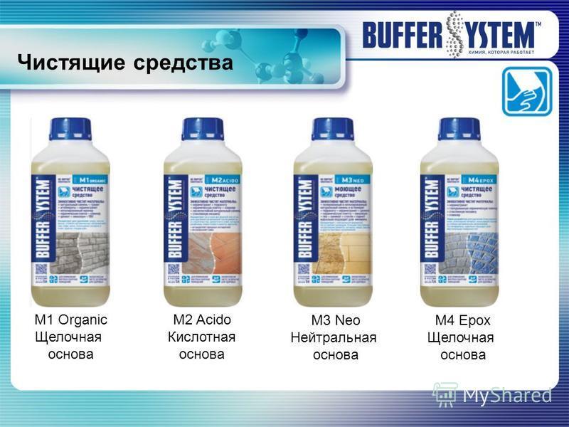 Чистящие средства М1 Organic Щелочная основа М2 Acido Кислотная основа М3 Neo Нейтральная основа М4 Epox Щелочная основа
