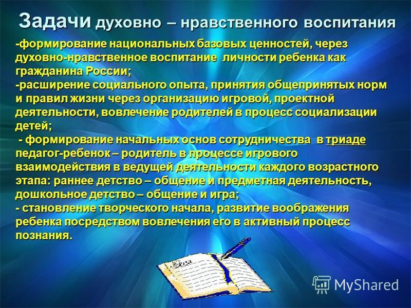 Задачи духовно – нравственного воспитания -формирование национальных базовых ценностей, через духовно-нравственное воспитание личности ребенка как гражданина России; -расширение социального опыта, принятия общепринятых норм и правил жизни через орган