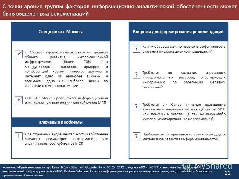 С точки зрения группы факторов информационно-аналитической обеспеченности может быть выделен ряд рекомендаций 11 Специфика г. Москвы Вопросы для формирования рекомендаций ? ? ? ? Для отдельных видов деятельности свойственна ситуация асимметрии информ